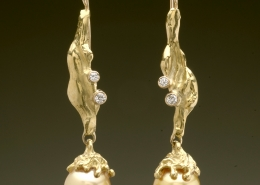 18ky gold and diamond earrings with Canary, Tahitian pearls