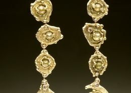 18ky gold earrings with rose cut diamonds and champagne diamonds