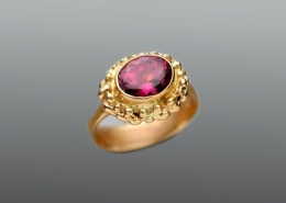 Elizabethan style 14ky gold ring with Pink Tourmaline