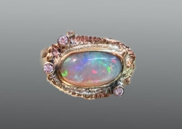 Mykonos Collection ring in 14ky gold with Australian opal and diamond accents
