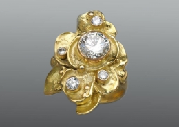 (Custom ring) 18ky Petal Collection ring with round, brilliant diamonds