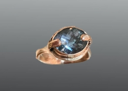 Signet style 14ky gold ring with radiant cut aquamarine